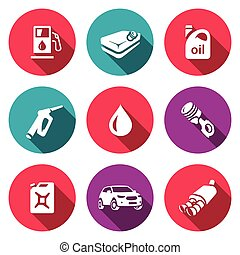 Vector Set of Fuel Icons Petrol station, gasoline tank,...