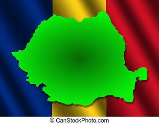 Romania map on rippled flag illustration