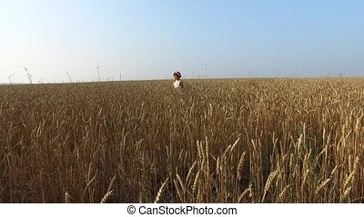 Little girl stands on a wheat field. The camera zooms in to the child. Wheat turned yellow. Soon it will begin harvesting.