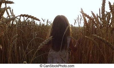 Little girl sneaks through a dense and high wheat. Wheat...