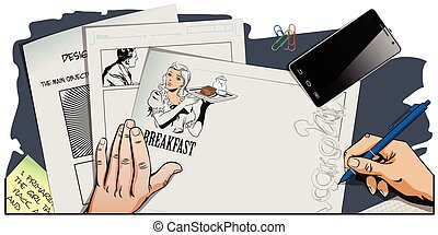 Waitress with breakfast. Hand paints picture. - Stock...