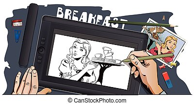 People in retro style. Waitress with breakfast. - Stock...