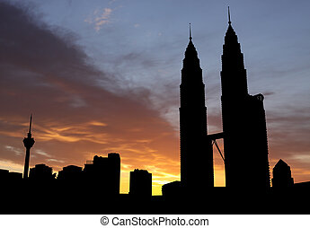 Petronas Towers at sunset
