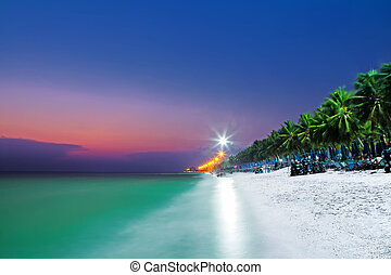 motion blur of the sea and coconut trees under vivid twilight sunset sky with long exposure effect.