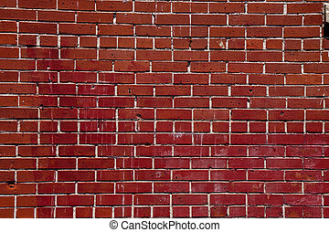Old Chipped Stained Brick Wall - An old red brick wall...
