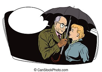Elderly man and beautiful girl - Stock illustration. People...
