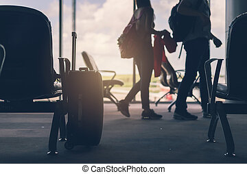 silhouette of Baggage in the airport