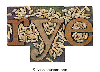 barley word and grain - rye word in vintage letterpress...
