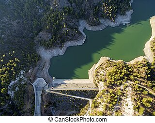 Aerial view of Arminou reservoir, Pafos, Cyprus - Aerial...