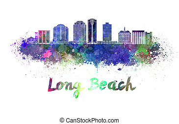 Long Beach V2 skyline in watercolor splatters with clipping...