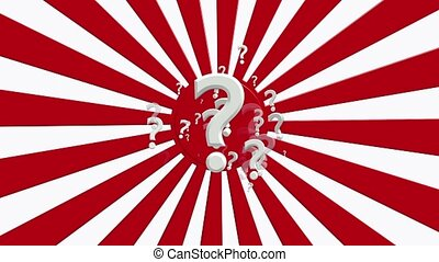 Rotating sunburst with question marks in red and white...