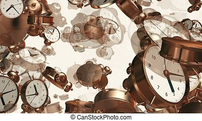 Alarm clocks in copper color on white