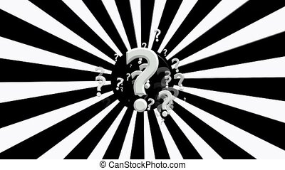 Rotating sunburst with question marks in white and black...