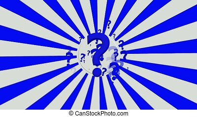 Rotating sunburst with question marks in blue and white...
