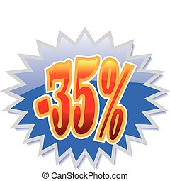 35% discount label - Blue discount label with red -35%....