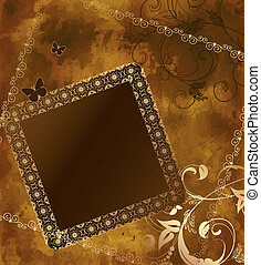 grunge background gold frame patterns
