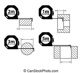 Measuring tape Measurement methods Set of icons on white...