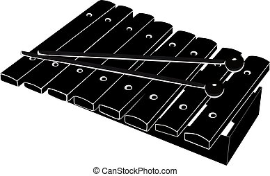 Xylophone with mallets. Black - white vector illustration on...