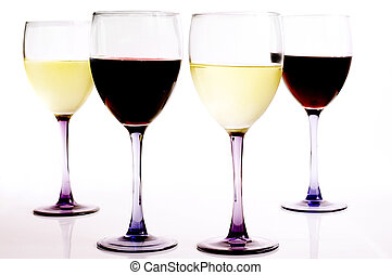 glasses of red and white wine, on white