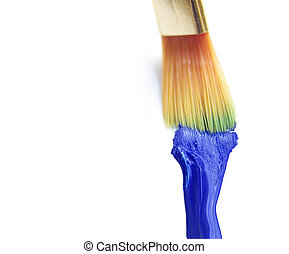 Blue paint and brush on white background