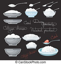 Vector illustration with cottage cheese, strawberry, spoons....
