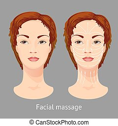 Portrait of  a young female  with facial massaging lines