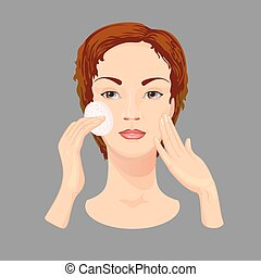 Young woman  cleans her face with cosmetic lotion.