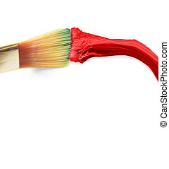 Red paint and brush on white background