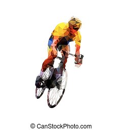 Cyclist, abstract polygonal vector illustration. Cycling, individual summer sport