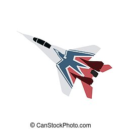 Jet plane, flat vector illustration. Military fighter. Isolated airplane