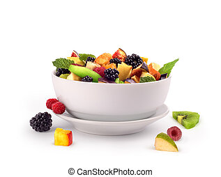 salad with fresh fruits and berries on white background