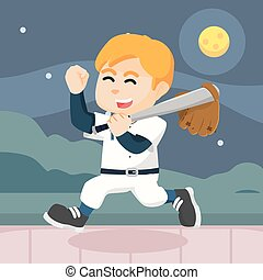 baseball player cheerful after