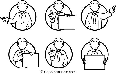 Doctor, scientist, teacher. Set icons of different poses and...