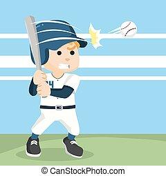 baseball player hitting ball