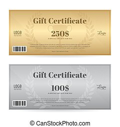 Elegant gift certificate or gift voucher in gold and silver theme