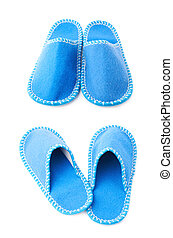Pair of house slippers isolated over white background - Pair...