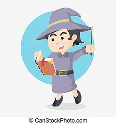 witch holding tome and wand