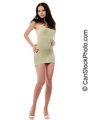 Sexy playful woman in dress - Sexy playful woman posing in...