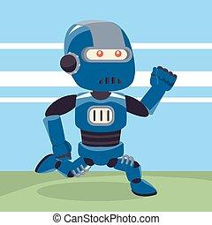 blue robot running illustration