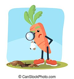 carrot man seeing through magnifying glass
