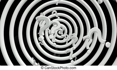 Question marks with rotating spiral in white