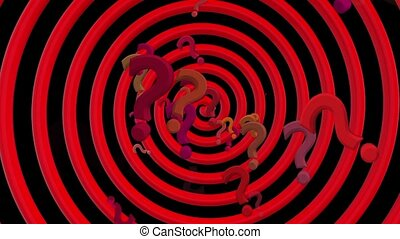 Question marks with rotating spiral in red color