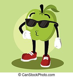 apple man being cool illustration design