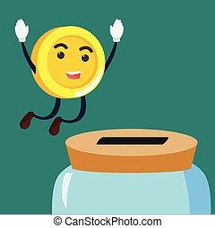 coin man jumping into savings