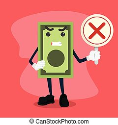 money man holding signh cross illustration design