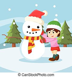snowman with girl colorful