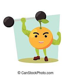 orange man lifting giant dumbell