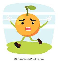 orange man running scared