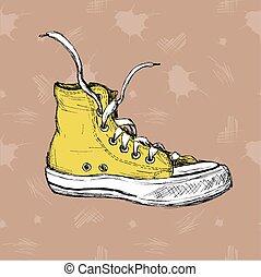 Vintage Sneakers Hand Drawn. - Vintage Sneakers Hand Drawn,...