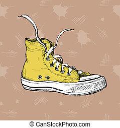 Vintage Sneakers Hand Drawn - Vintage Sneakers Hand Drawn,...